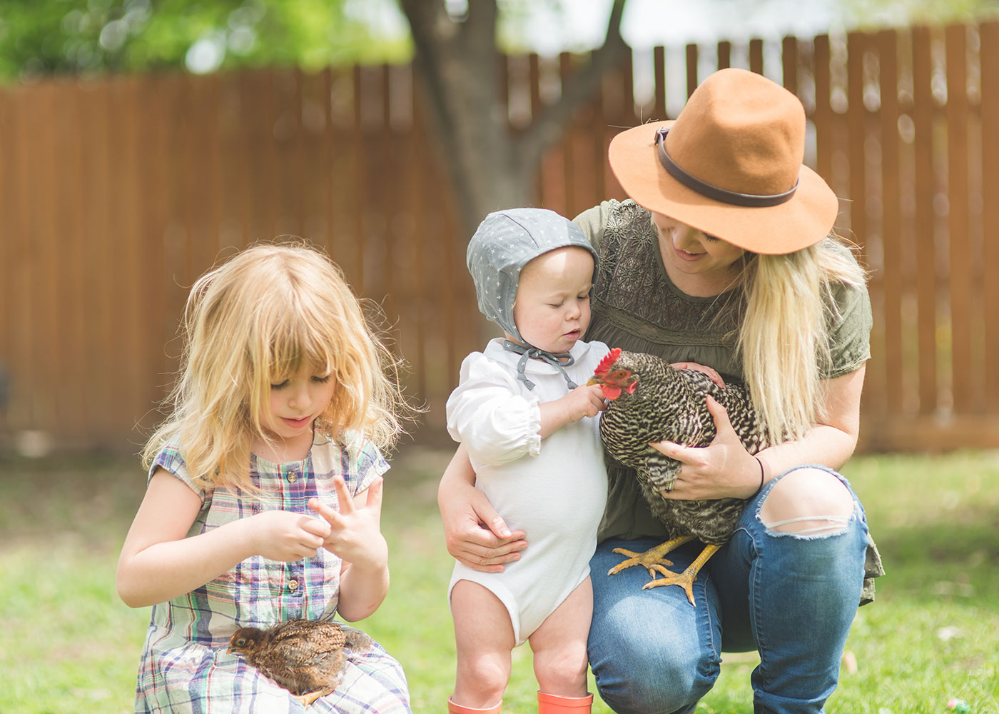 Family with Chicken